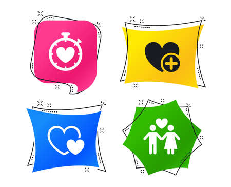 Valentine day love icons. Love heart timer symbol. Couple lovers sign. Add new love relationship. Geometric colorful tags. Banners with flat icons. Trendy design. Vector Illustration