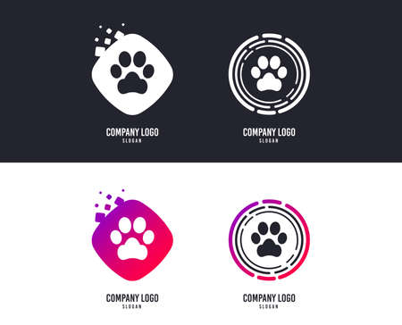 Logotype concept. Dog paw sign icon. Pets symbol. Logo design. Colorful buttons with icons. Dog paw logo vector