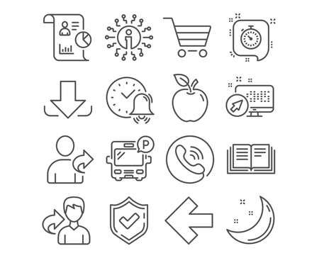 Set of Market sale, Left arrow and Bus parking icons. Report, Alarm bell and Education signs. Refer friend, Download and Timer symbols. Customer buying, Direction arrow, Public park. Vector Иллюстрация