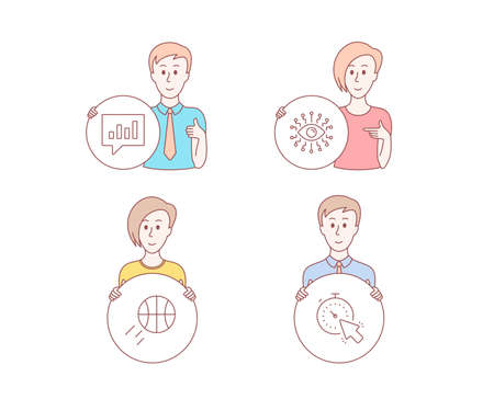 People hand drawn style. Set of Basketball, Artificial intelligence and Analytical chat icons. Timer sign. Sport ball, All-seeing eye, Communication speech bubble. Time management. Vector Illustration