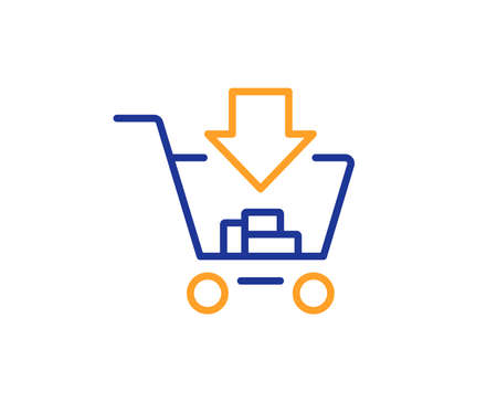 Add to Shopping cart line icon. Online buying sign. Supermarket basket symbol. Colorful outline concept. Blue and orange thin line color icon. Shopping Vector Illustration