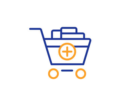 Add to Shopping cart line icon. Online buying sign. Supermarket basket symbol. Colorful outline concept. Blue and orange thin line color icon. Add products Vector