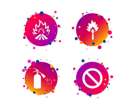Fire flame icons. Fire extinguisher sign. Prohibition stop symbol. Burning matchstick. Gradient circle buttons with icons. Random dots design. Vector