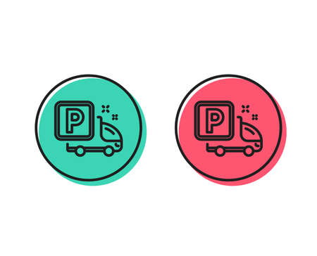 Truck parking line icon. Car park sign. Transport place symbol. Positive and negative circle buttons concept. Good or bad symbols. Truck parking Vector Foto de archivo - 112885277