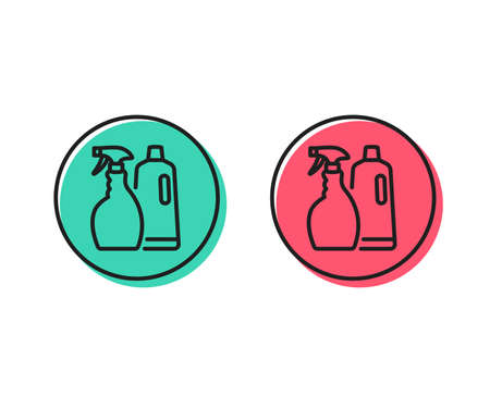 Cleaning spray and Shampoo line icon. Washing liquid or Cleanser symbol. Housekeeping equipment sign. Positive and negative circle buttons concept. Good or bad symbols. Shampoo and Spray Vector