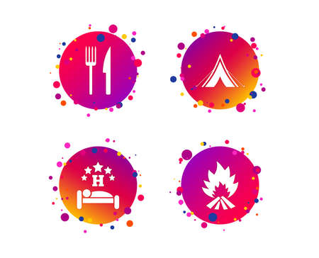 Food, sleep, camping tent and fire icons. Knife and fork. Hotel or bed and breakfast. Road signs. Gradient circle buttons with icons. Random dots design. Vector