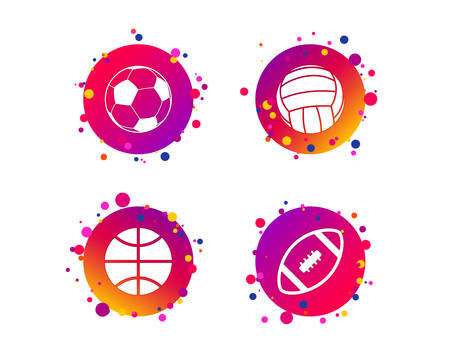 Sport balls icons. Volleyball, Basketball, Soccer and American football signs. Team sport games. Gradient circle buttons with icons. Random dots design. Vector