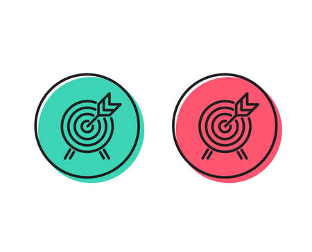 Archery line icon. Amusement park attraction sign. Positive and negative circle buttons concept. Good or bad symbols. Archery Vector