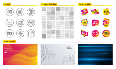 Seamless pattern. Shopping mall banners. Set of Vinyl record, Phone communication and Sales diagram icons. Website statistics, Comment and Survey check signs. Payment, Employee and New mail symbols Standard-Bild - 112885295