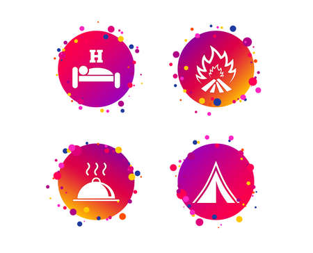 Hot food, sleep, camping tent and fire icons. Hotel or bed and breakfast. Road signs. Gradient circle buttons with icons. Random dots design. Vector Illustration