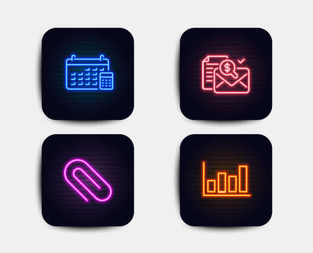 Neon set of Accounting report, Calendar and Paper clip icons. Report diagram sign. Check finance, Calculator device, Attach paperclip. Financial market. Neon report icons. Glowing light banners Illustration