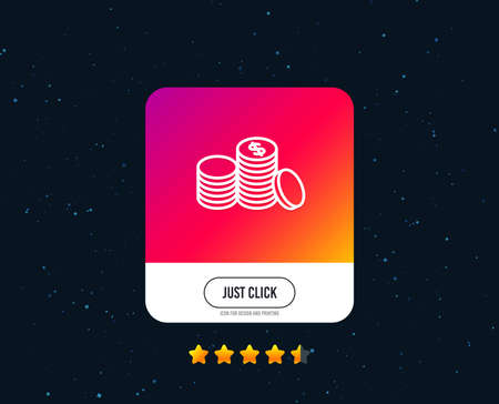 Coins money line icon. Banking currency sign. Cash symbol. Web or internet line icon design. Rating stars. Just click button. Vector Archivio Fotografico - 111179668