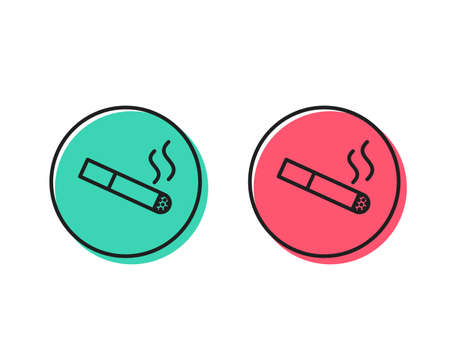 Smoking area line icon. Cigarette sign. Smokers zone symbol. Positive and negative circle buttons concept. Good or bad symbols. Smoking Vector