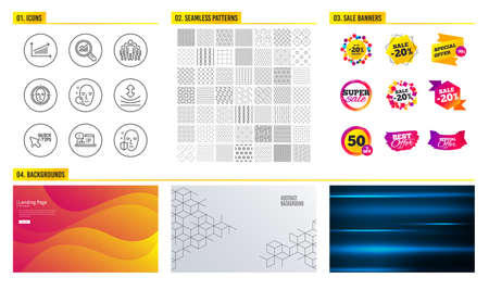 Seamless pattern. Shopping sale banners. Set of Face search, Chart and Group icons. Quick tips, Resilience and Online documentation signs. Face detect, Data analysis symbols. Sale vector Illustration
