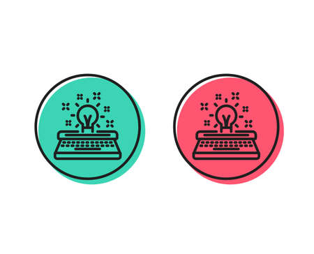 Typewriter line icon. Creativity sign. Inspiration light bulb symbol. Positive and negative circle buttons concept. Good or bad symbols. Typewriter Vector Çizim