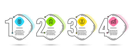 Infographic timeline. Set of Approved, Train and Person icons. Parking sign. Winner badge, Tram, Edit profile. Car park. Process diagram, workflow layout. Info graph. Timeline vector
