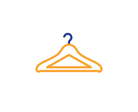 Cloakroom line icon. Hanger wardrobe sign. Clothes service symbol. Colorful outline concept. Blue and orange thin line color icon. Cloakroom Vector Ilustracja