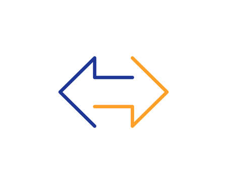 Sync arrows line icon. Communication Arrowheads symbol. Navigation pointer sign. Colorful outline concept. Blue and orange thin line color icon. Sync Vector