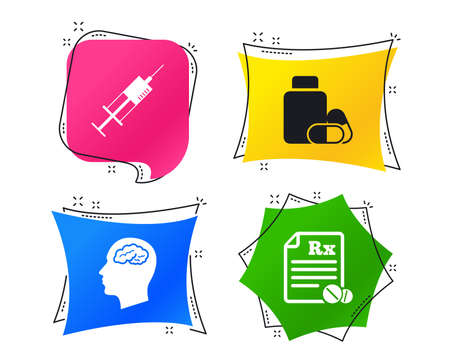 Medicine icons. Medical tablets bottle, head with brain, prescription Rx and syringe signs. Pharmacy or medicine symbol. Geometric colorful tags. Banners with flat icons. Trendy design. Vector