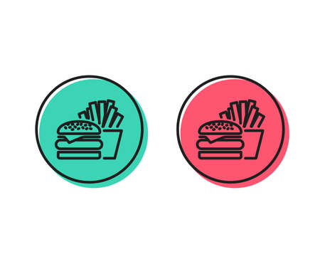 Burger with fries line icon. Fast food restaurant sign. Hamburger or cheeseburger symbol. Positive and negative circle buttons concept. Good or bad symbols. Burger Vector