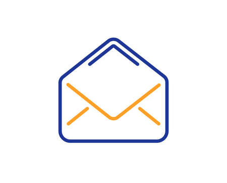 Mail line icon. Message correspondence sign. E-mail symbol. Colorful outline concept. Blue and orange thin line color icon. Mail Vector