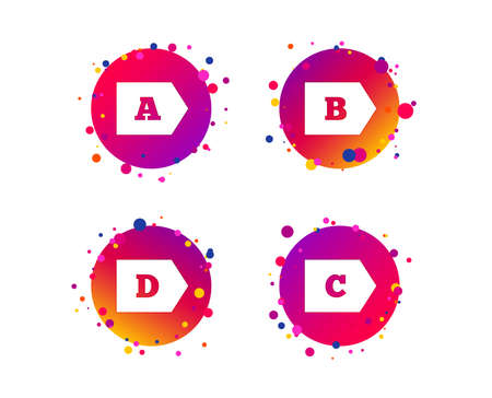 Energy efficiency class icons. Energy consumption sign symbols. Class A, B, C and D. Gradient circle buttons with icons. Random dots design. Vector