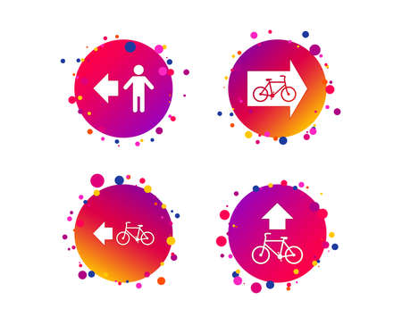 Pedestrian road icon. Bicycle path trail sign. Cycle path. Arrow symbol. Gradient circle buttons with icons. Random dots design. Vector  イラスト・ベクター素材