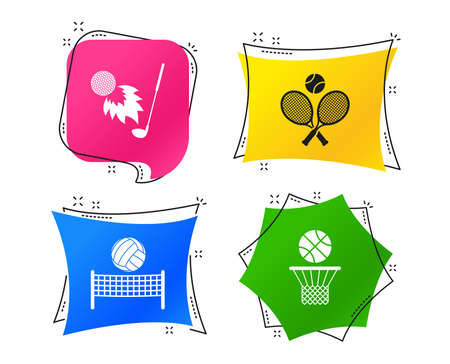 Tennis rackets with ball. Basketball basket. Volleyball net with ball. Golf fireball sign. Sport icons. Geometric colorful tags. Banners with flat icons. Trendy design. Vector Illustration