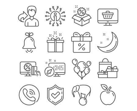 Set of Bell, Sale and Online shopping icons. Special offer, Discount offer and Web shop signs. Elephant on ball, Balloons and Shopping symbols. Alarm signal, Discount, Black friday. Vector