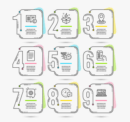 Infographic template with numbers 9 options. Set of File, Quick tips and Location icons. Creative idea, Copyright and Cogwheel signs. Select alarm, Mobile survey and Web analytics symbols. Vector