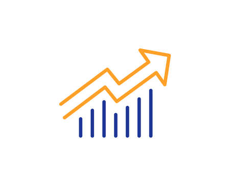 Chart line icon. Report graph or Sales growth sign. Analysis and Statistics data symbol. Colorful outline concept. Blue and orange thin line color icon. Demand curve Vector