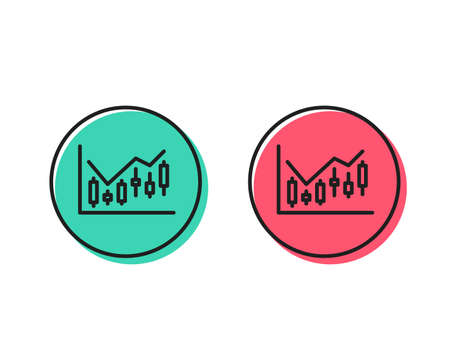 Candlestick chart line icon. Financial graph sign. Stock exchange symbol. Business investment. Positive and negative circle buttons concept. Good or bad symbols. Financial diagram Vector