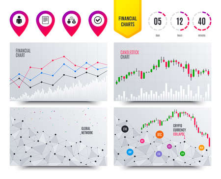 Financial planning charts. Bank loans icons. Cash money bag symbol. Apply for credit sign. Check or Tick mark. Cryptocurrency stock market graphs icons. Trendy design. Vector