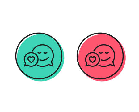 Comic speech bubble with Smile line icon. Chat emotion with heart sign. Positive and negative circle buttons concept. Good or bad symbols. Dating Vector Ilustração