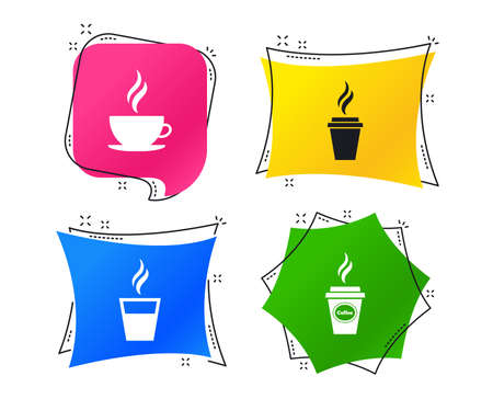 Coffee cup icon. Hot drinks glasses symbols. Take away or take-out tea beverage signs. Geometric colorful tags. Banners with flat icons. Trendy design. Vector