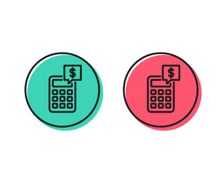 Calculator line icon. Accounting sign. Calculate finance symbol. Positive and negative circle buttons concept. Good or bad symbols. Calculator Vector