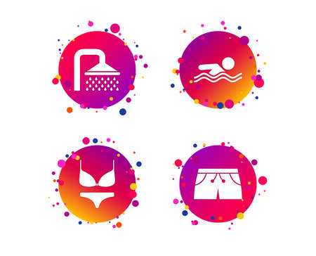 Swimming pool icons. Shower water drops and swimwear symbols. Human swims in sea waves sign. Trunks and women underwear. Gradient circle buttons with icons. Random dots design. Vector