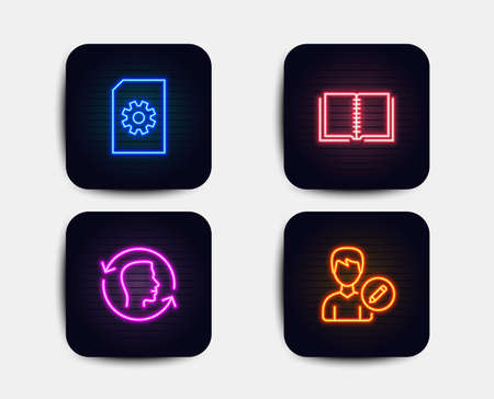 Neon glow lights. Set of File management, Face id and Book icons. Edit person sign. Doc with cogwheel, Identification system, E-learning course. Change user info.  Neon icons. Glowing light banners Illustration
