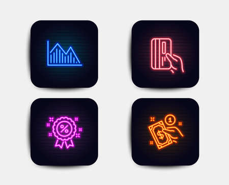 Neon set of Investment graph, Discount and Payment card icons. Payment method sign. Investment infochart, Sale shopping, Credit card. Give money. Neon graph icons. Glowing light banners Illustration