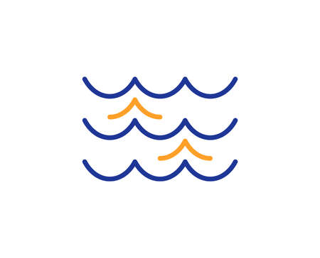 Waves line icon. Sea flowing sign. Water symbol. Colorful outline concept. Blue and orange thin line color icon. Waves Vector