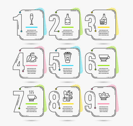 Infographic timeline. Set of Whiskey bottle, Whiskey glass and Mint tea icons. Espresso, Champagne glass and Takeaway coffee signs. Timeline vector Illustration