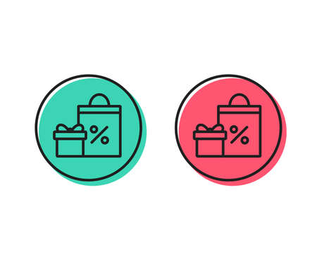 Gift box with Shopping bag line icon. Present or Sale sign. Birthday Shopping with Discounts symbol. Package in Gift Wrap. Positive and negative circle buttons concept. Good or bad symbols. Vector