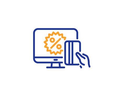 Online shopping line icon. Sale discount sign. Black friday symbol. Colorful outline concept. Blue and orange thin line color icon. Online shopping Vector Illustration