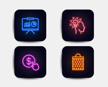 Neon glow lights. Set of Buy currency, Idea and Presentation icons. Shopping bag sign. Money exchange, Creative designer, Board with charts. Paper package. Neon icons. Presentation banners vector