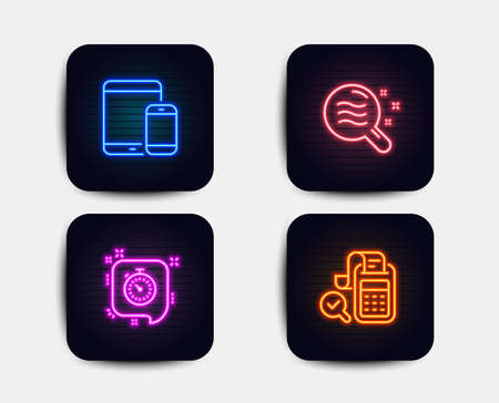 Neon glow lights. Set of Skin condition, Mobile devices and Timer icons. Bill accounting sign. Search magnifier, Smartphone with tablet, Time management. Audit report.  Neon icons. Vector