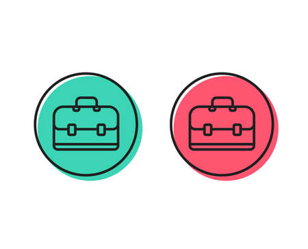 Business case line icon. Portfolio symbol. Diplomat sign. Positive and negative circle buttons concept. Good or bad symbols. Portfolio Vector Stock Illustratie