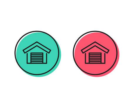 Parking garage line icon. Auto park sign. Car place symbol. Positive and negative circle buttons concept. Good or bad symbols. Parking garage Vector Foto de archivo - 112885420