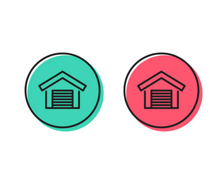Parking garage line icon. Auto park sign. Car place symbol. Positive and negative circle buttons concept. Good or bad symbols. Parking garage Vector