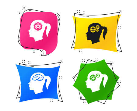Head with brain icon. Female woman think symbols. Cogwheel gears signs. Geometric colorful tags. Banners with flat icons. Trendy design. Vector
