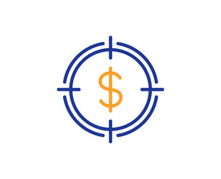Target with Dollar line icon. Aim symbol. Cash or Money sign. Colorful outline concept. Blue and orange thin line color icon. Dollar Target Vector